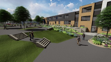 artists impression of a new school landscaped with steps