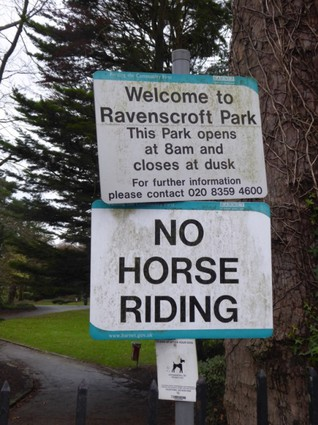 welcome to Ravenscroft Park, No Horse Riding