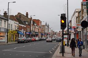 Cars parked at centre of Barnet High Street