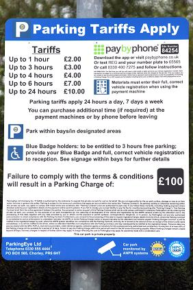 Parking Tariffs, Barnet Hospital