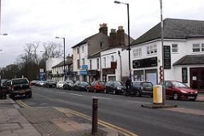 Cars parked at top end of Barnet High Street