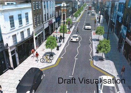 artists impression of High Street with pavements built out
