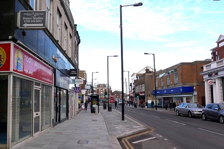Barnet High Street after the widening of the pavements