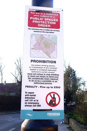 You are in a restricted area subject to a public spaces protection order. Prohibition. Any person drinking alcohol, or in possession of any container (sealed or unsealed) reasonably believed to contain alcohol, must not refuse to stop drinking or must not refuse to hand over the container(s) when required to do so by a constable or an authorised person. Penalty - Fine up to 500 pounds.