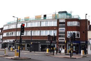 Extra floor added above carpet shop, Barnet