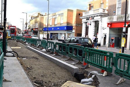 pavement under construction, kerb stones in place