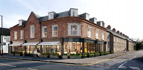 artists impression of new  red brick hotel with restaurant on ground floor