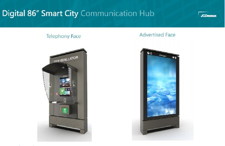 artists impression of Digital 86 inch Smart City Communication Hub -- public phone with big advertising panel