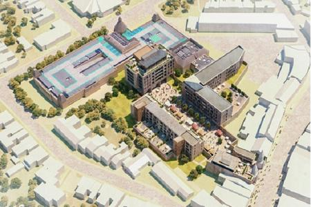 Artist's impression of aerial view of the Spires shopping centre with blocks of flats of up to six storeys above the shops