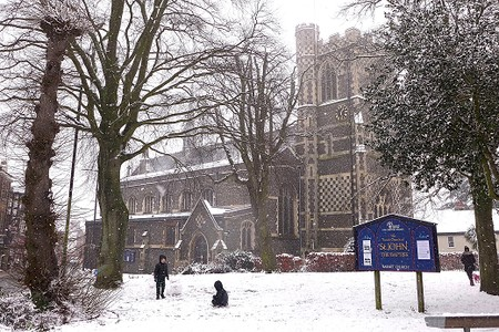 St John's church Barnet in the snow